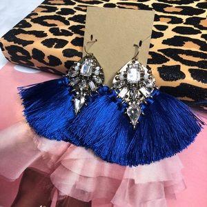 """Jewelry - """"Gabriella"""" Bauble Tassel Earrings Studs in Blue"""